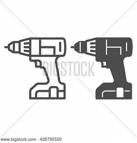 Cordless Screwdriver Line And Solid Icon, Construction Tools Concept, Screwd Gun Vector Sign On Whit