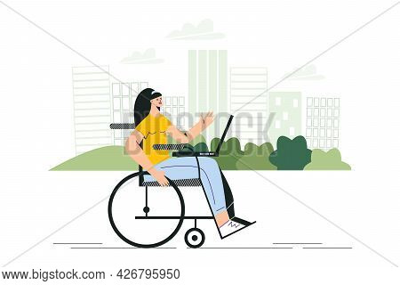 Disabled Woman In Wheelchair Working Outside With Laptop. Banner Of Work For People With Special Nee