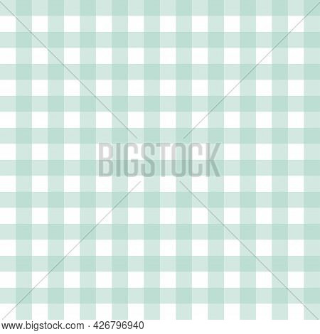 Seamless Tiling Checkered Pattern. Pastel Green Color Sweetly. Illustration Flat Art Design.