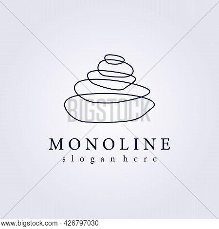 Monoline Line Abstract Stone Logo Icon Symbol Rock Vector Illustration Design Balance Stone Zen
