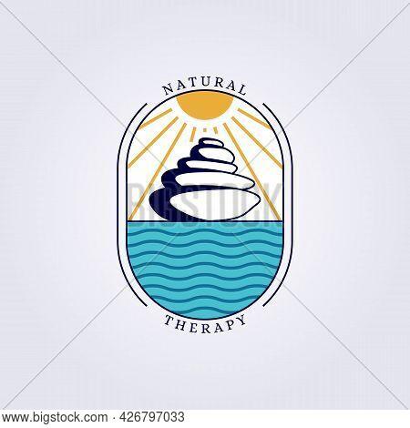 Nature Balance Zen Stone Logo Vector Illustration Design Ocean Therapy Logo