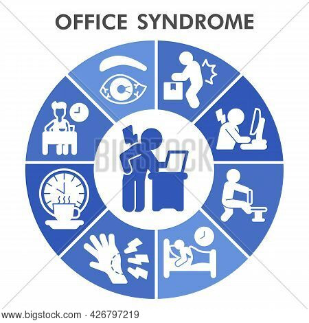Modern Officesyndrome Infographic Design Template. Office Syndrome Inphographic Visualization, Bubbl