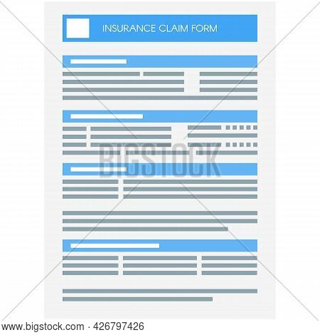 Vector Insurance Claim Form Paper Document Icon