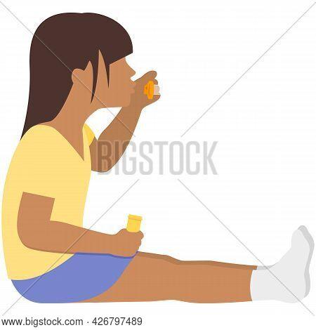 Child Blow Soap Bubble Vector, Girl Play Cartoon