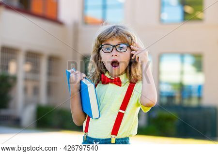 Happy Excited Kid In Glasses Is Going To School For The First Time. Pupil Go Study. Child Boy With B