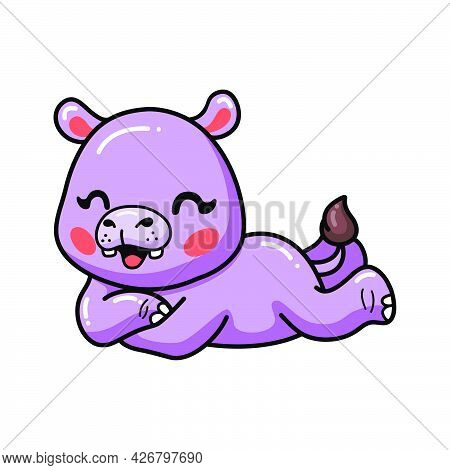 Vector Illustration Of Cute Baby Hippo Cartoon Laying Down