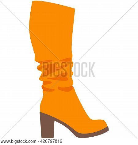 Vector Woman Boot, Fashion High Heel Shoes Icon
