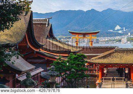 Floating Torii Of Itsukushima Shrine In Hiroshima, Japan. Translation: Itsukishima Shrine, The Forme