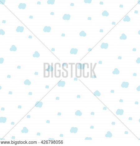 Childrens Seamless Pattern Of Clouds On A White Background. Vector Illustration