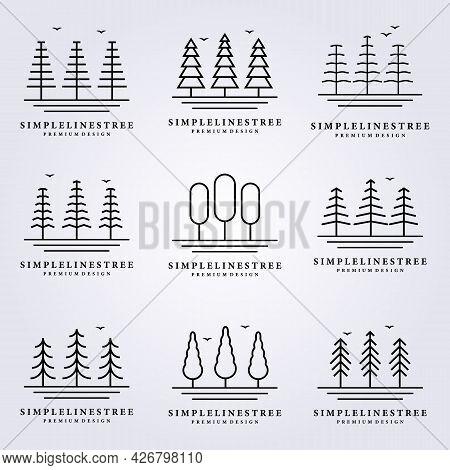 Simple Tree Line Nature Logo Vector Illustration Design Art Minimal Minim Forest Simple Icon Symbol