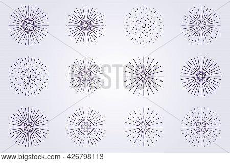 Set Collection Sunburst Logo Icon Symbol Vector Illustration Design Line Art Linear Monoline Flower