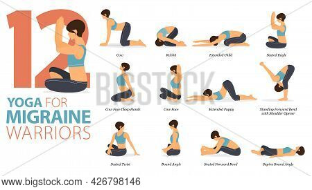 Infographic 12 Yoga Poses For Workout At Home In Concept Of Migraine Warriors In Flat Design. Women
