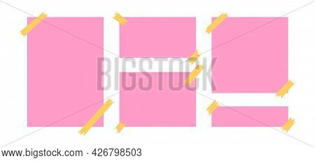 Paper Sheets With Sticky Tape. Pink And Yellow Blank Paper Pages For Memos And Messages. Colored Vec