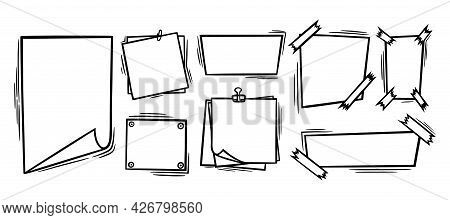 Doodle Paper Sheets With Clip, Sticky Tape And Pins. Blank Paper Pages For Memos And Messages. Doodl