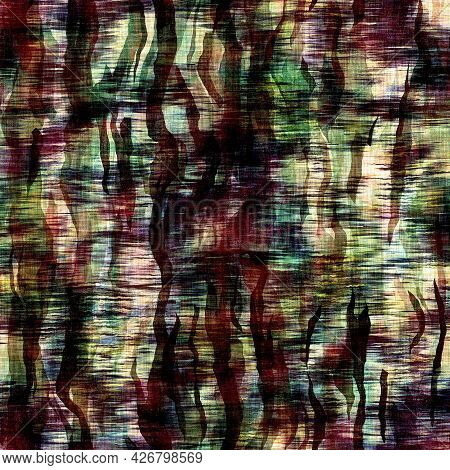 Funky Camouflage Space Dyed Style Texture Material. Seamless Colorful Boho Batik Pattern. Mottled Mo