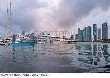 Miami At Sunset. Miami Florida, Colorful Skyline Of Macarthur Causeway.