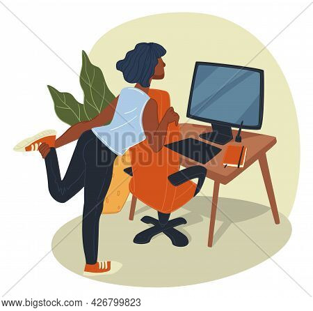 Tired Woman Stretching And Working By Computer