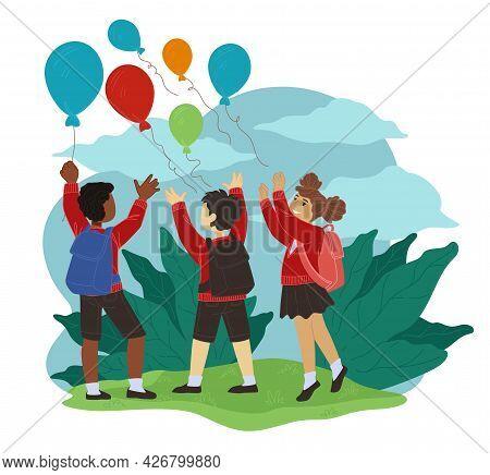 Children Playing At School Yard Throwing Balloon