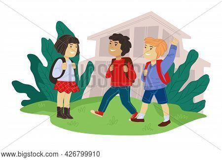 Children Talking And Interacting In School Yard