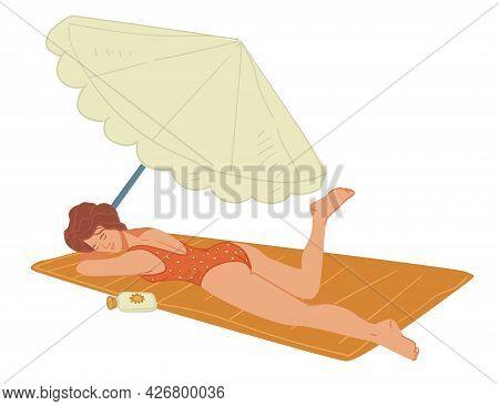 Woman Suntanning On Blanket, Umbrella Making Shade