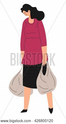 Homeless Or Unemployed Sad Woman Carrying Bags