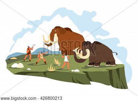 People Hunting Mammoth, Survival And Hunt Vector
