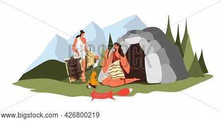 Prehistoric Period, People Sewing Clothes From Fur