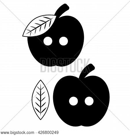 Fruit Button For Clothes With Two Holes In The Shape Of An Apple With A Leaf And A Branch. Vector Il
