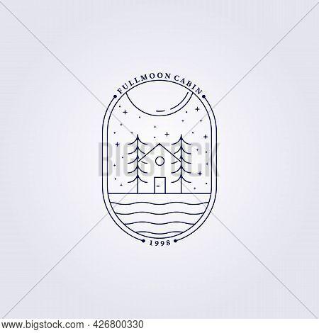 Tree House Cafe Forest Carpenter Logo Vector Illustration Design Line Art Badge Linear Monoline Cabi