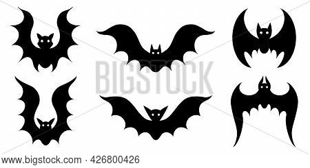 Vector Set Of Bats. Isolated Icons On White. Black Silhouettes Of Nocturnal Predators. Flying Bloods