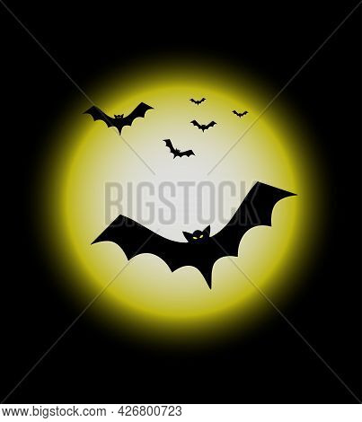 Full Moon And Flying Bats, Halloween Background. Halloween Festival And Celebration Abstract Backgro