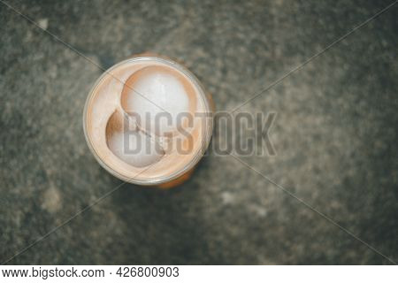 Iced Mocha Coffee In Double Wall Insulated Glass. Top View