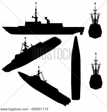 Set With Silhouettes Of A Combat Ship In Various Positions Isolated On A White Background. Vector Il