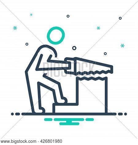Mix Icon For Carpentry Work Carpentry Builder Construction Hand-saw Hand Saw Carpentry Wood-work Occ