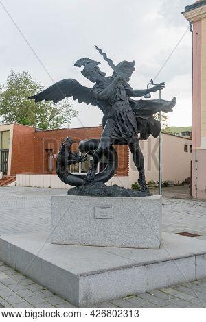 Lubin, Poland - June 1, 2021: Sculpture Of Saint Michael The Archangel.