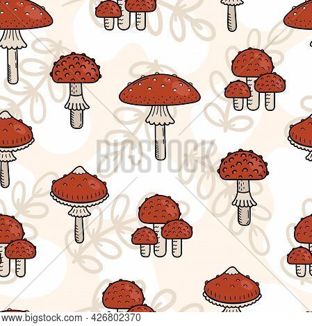 Seamless Pattern Of Cute Doodle Mushrooms. Poisonous Mushroom, Fly Agaric. Vector Hand Illustration
