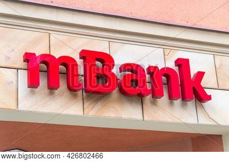 Legnica, Poland - June 1, 2021: Red Logo Of One Of Largest Bank Mbank In Poland.