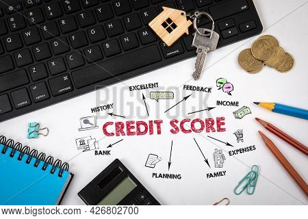 Credit Score Concept. Chart With Keywords And Icons. Black Computer Keyboard And Office Supplies
