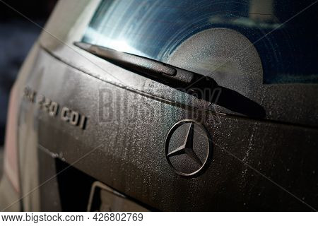 Irkutsk, Russia - July 10 2021: Close Up Dirty Mercedes Car With A Wiper On The Back Window. Do Not