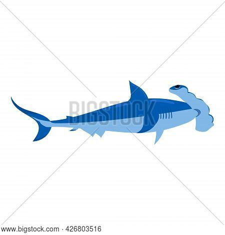Shark Underawater Predator Animal Character, Scary Jaws Fish Aquatic Creature. Vector Illustration C