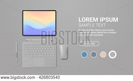 Modern Tablet Computer With Keyboard Mouse Pen And Colored Screen Realistic Mockup Gadgets And Devic