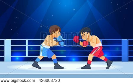 Boys Before A Boxing Match. The Guys In The Gloves Start Fighting. Sports, Martial Arts Concept Cart