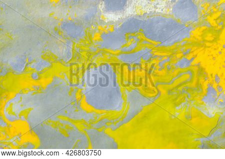 Gray-yellow Abstract Art Background With Acrylic Paints. Fluid Art Texture. The Trending Colors Of 2