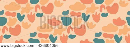 Cute Childish Abstract Seamless Pattern With Colorful Organic Shapes Arranged In Diagonal Lines. Vec