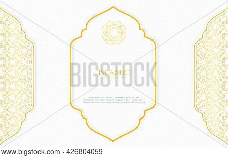 Islamic Elegant White And Golden Luxury Background With Islamic Pattern And Decorative Islamic Patte