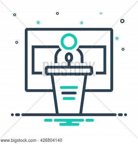 Mix Icon For Conference Seminar Convention Ideas Audience Desk Communication Presentation Lecture