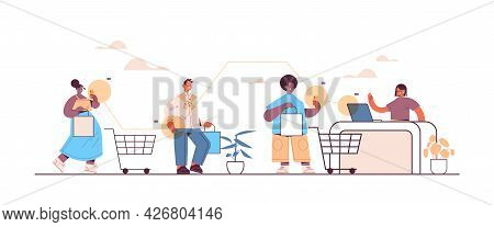 Mix Race Customers Using Smartphones For Paying At Cash Desk Online Shopping Ecommerce Smart Purchas