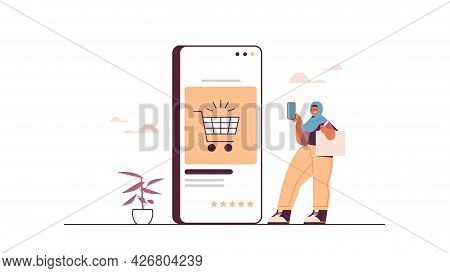 Arab Woman Using Smartphone Buying Things In Online Store Sale Consumerism Online Shopping Ecommerce