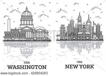 Outline New York and Washington DC USA City Skyline Set with Modern Buildings and Reflections Isolated on White. Cityscape with Landmarks.