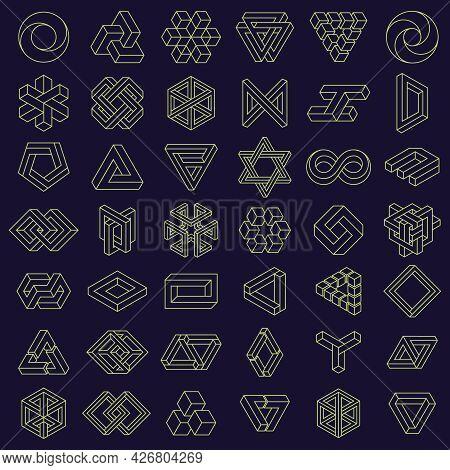 Optical Illusion Impossible Shapes. Geometric Square And Triangle Paradox Figures, Optical Illusion